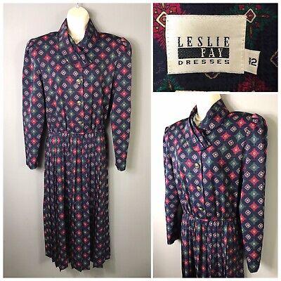 Classic Leslie Fay Dresses Navy Mix Pleated Tea Dress Uk 12 Eur 38 Us 8 Ebay