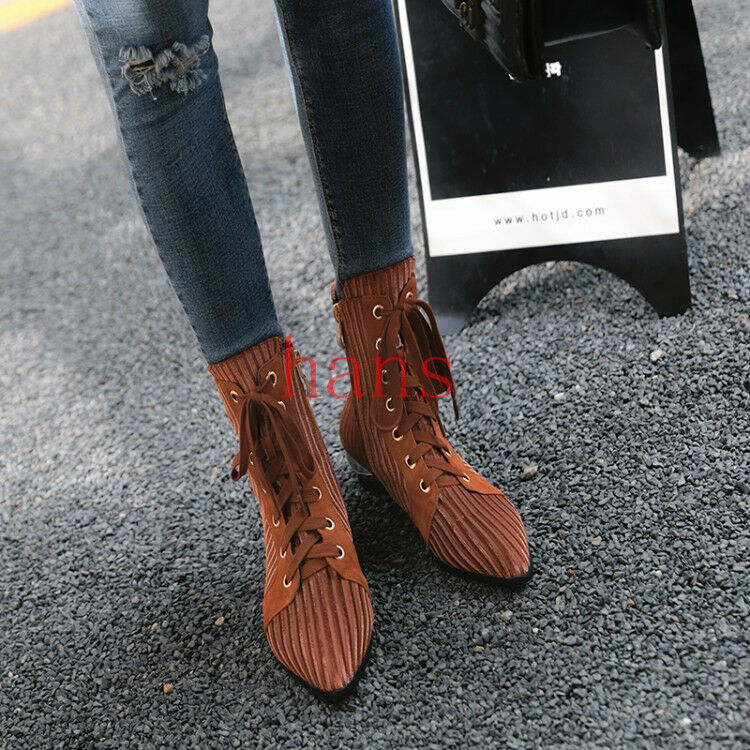Mujer Zapatos Gamuza Gamuza Gamuza Puntera Puntiaguda Zapatos Con Cordones Cremallera Lateral botas al Tobillo Zapatos Planos  más vendido