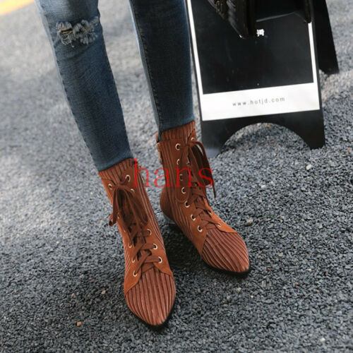Womens Shoes Suede Pointy Toe Lace up Side Zipper Shoes Ankle Boots Flat shoes