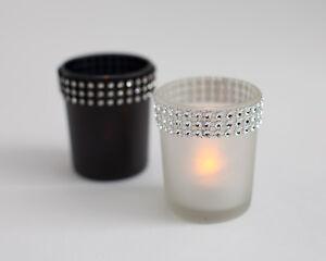 vidrio esmerilado Vela con pedrería 2 Colores Boda Velas Decoración
