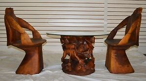 Coffee Table (Diver) w/ Glass & 2 Chairs Hand Crafted Custom Teak Wood Natural