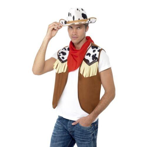 Men/'s Instant Western Wild West Cowboy Fancy Dress Costume John Wayne Stag Fun
