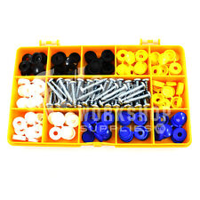 "120 ASSORTED NUMBER PLATE CAR FIXING FITTING KIT 3/4"" SCREW CAPS BLACK WHITE KIT"