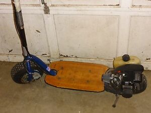 go ped goped bigfoot gas scooter blue very nice runs great genuine usa made ebay. Black Bedroom Furniture Sets. Home Design Ideas