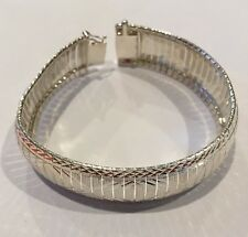 "Beautiful Milor Italy 925 Sterling Silver Wide 8"" Bracelet (H87)"