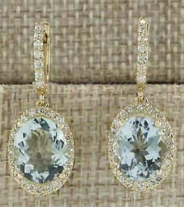 Solid-2-50-Ct-Oval-Cut-Aquamarine-Drop-Dangle-Earrings-14K-Yellow-Gold-Over