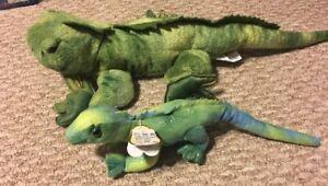 Lot-Of-2-Iguana-Lizard-Reptile-Plush-Aurora-And-Wishpets
