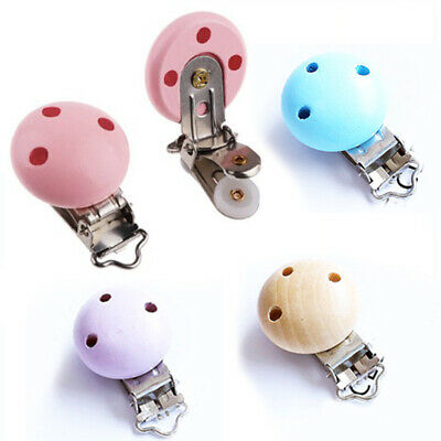 For Baby Infant Wooden Pacifier Suspender Clips Holder Soother Dummy Nipple