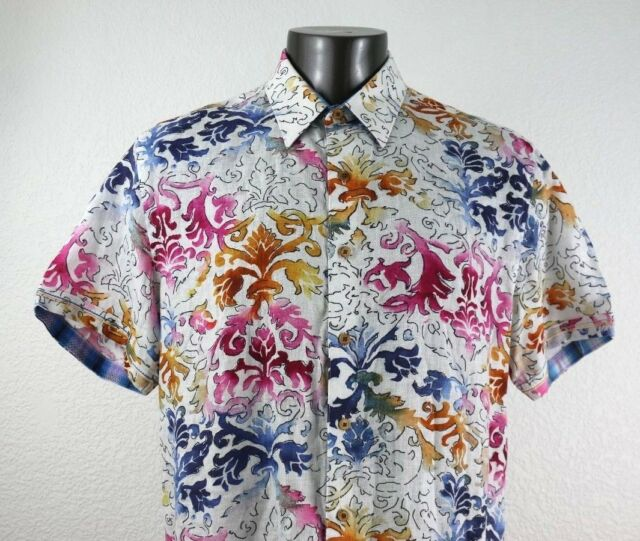 Robert Graham 100% Linen Knowledge Wisdom Truth Men's Shirt XL Classic Fit