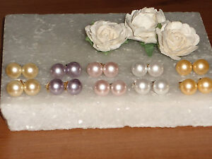 S p or g p mm pearl crystal stud earrings choice of colours