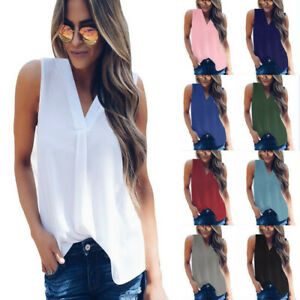 UK-Womens-Vest-Cami-Chiffon-T-Shirt-Sleeveless-Blouse-Ladies-V-Neck-Summer-Tops