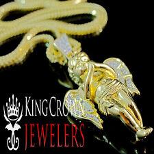 "10K Yellow Gold Silver Simu Diamond 1.75"" Angel Pendant Franco Chain Combo Set"