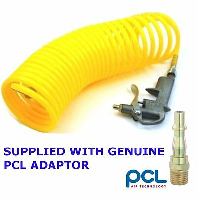 Air compressor blow gun with 25ft recoil hose - comes with genuine PCL adaptor