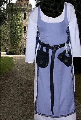 Medieval Renaissance Gown SCA Garb Sky LINEN Wht Tabard Kirtle Undergown 2pc LXL
