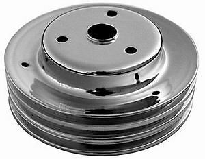 Small Block Chevy Black Steel Crank Pulley Long Triple Groove Chevrolet 3 Lower