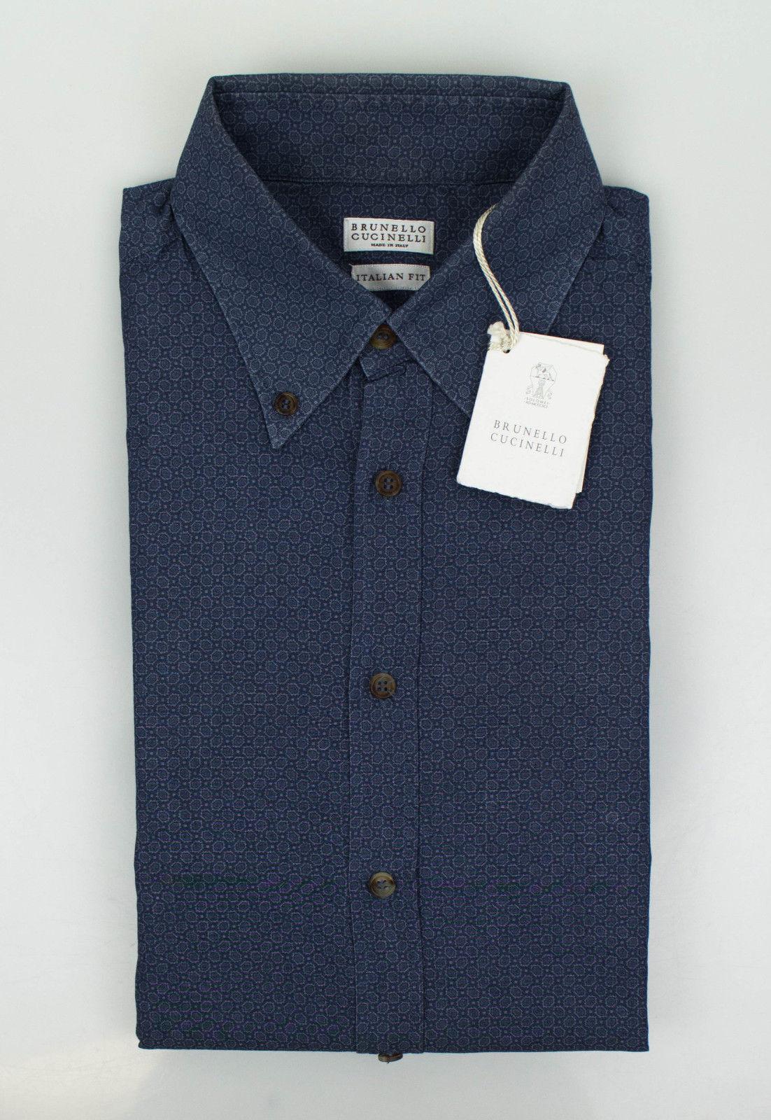 NWT BRUNELLO CUCINELLI bluee Cotton Italian Fit Casual Shirt Size 50 40 M