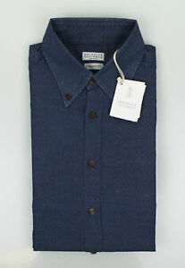 NWT-BRUNELLO-CUCINELLI-Blue-Cotton-Italian-Fit-Casual-Shirt-Size-50-40-M-575