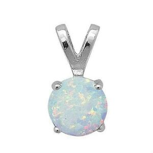 1.25 ct. Opal Solitaire Pendant Necklace set in Solid Sterling Silver w/chain