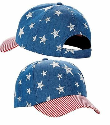 Unisex Baseball Cap Light Denim American Flag the Stars and Stripes USA Cap Hat
