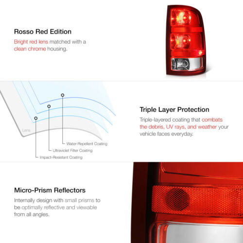 Right Passenger Side 07-13 GMC Sierra 1500 2500 3500 HD Red Brake Tail Light