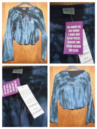 Jordash Tie Dye Long sleeved Crop Top Blue Purple Free Size 10 12 14 Festival