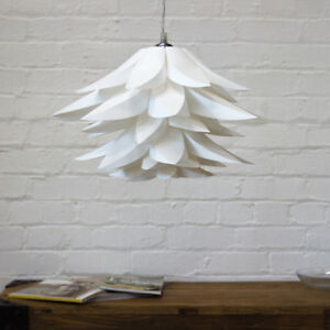 White retro petal effect pendant lamp shade easy fit clearance image is loading white retro petal effect pendant lamp shade easy aloadofball Images