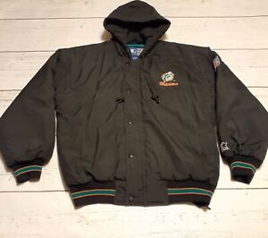 Miami-Dolphins-Vintage-NFL-Starter-Jacket-90s-OG-Pullover-Full-Zip-Puffer-Small