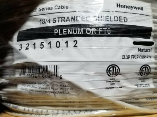 Honeywell Genesis 3215 18//4C Plenum Shielded Security//Control Cable White //100ft
