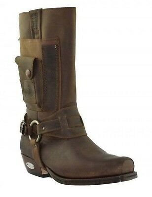 Loblan 620 Brown Waxy Leather Men Cowboy Western Boots Square Chisel Toe Pocket