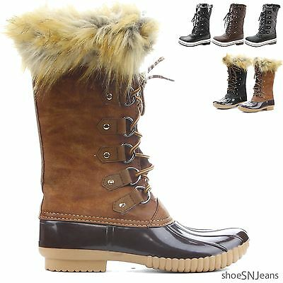 New Women Fashion Lace Up Quilted Winter Fur Lined Warm Boots Mid Calf Duck Shoe