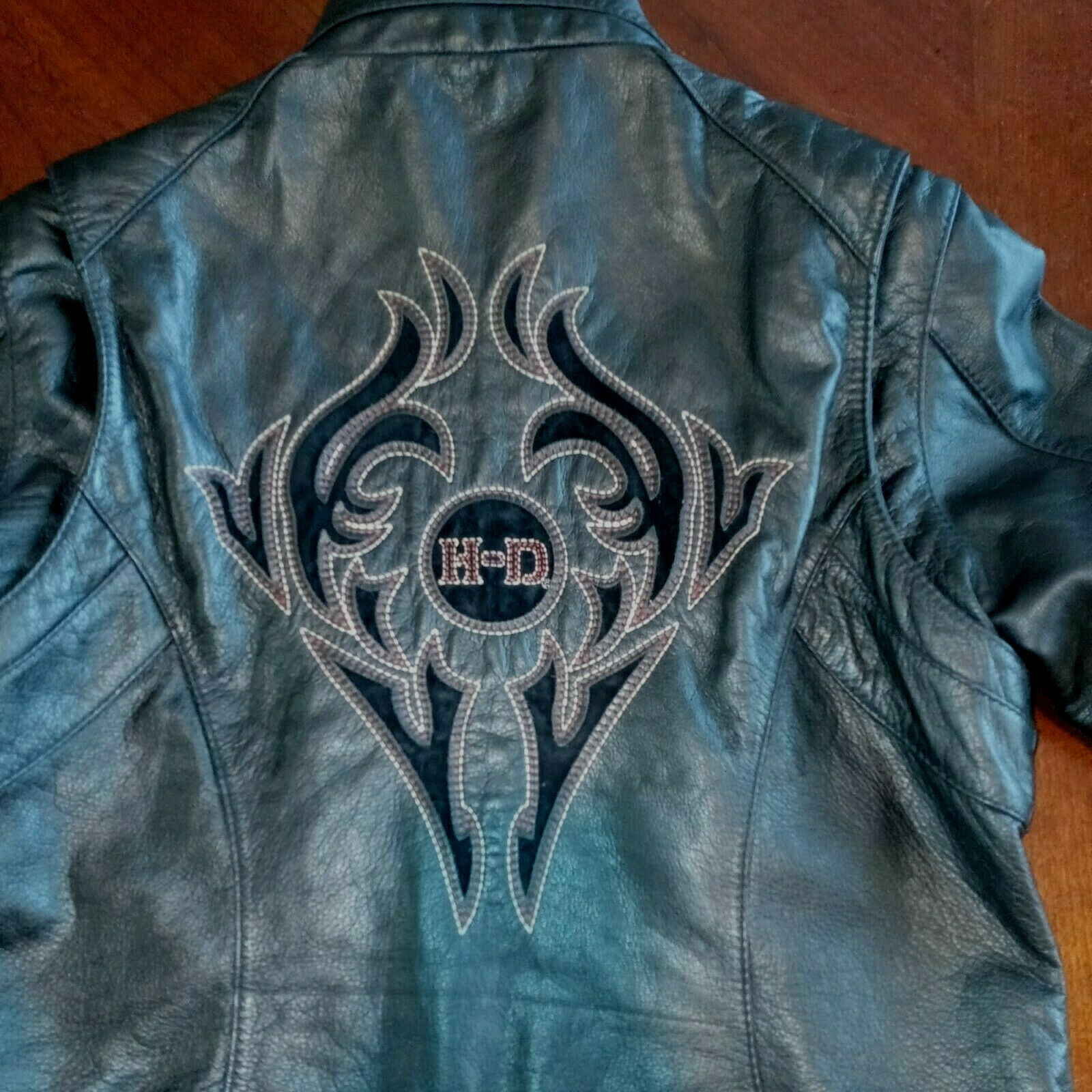 Harley Davidson Reflective Leather Real Riders HD TRIBAL Jacket Women's Size XL