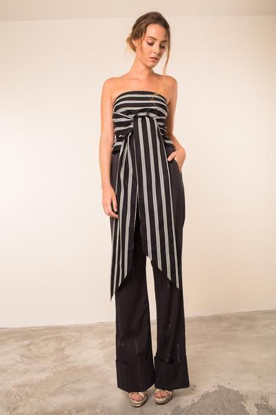 P'IA schwarz & Weiß Cotton MONCEAU Strapless Blouse Long Sash Größe S UK10
