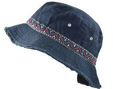 Cotton Twill Washed Bucket Hat With decorative band+frayed brim-navy blue-large
