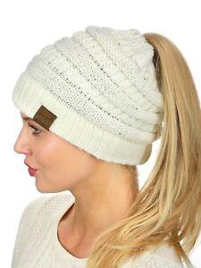 CC Beanie Tail Messy High Bun Ponytail Hat Knit Beanie Cap Hole in ... 58a1694c227