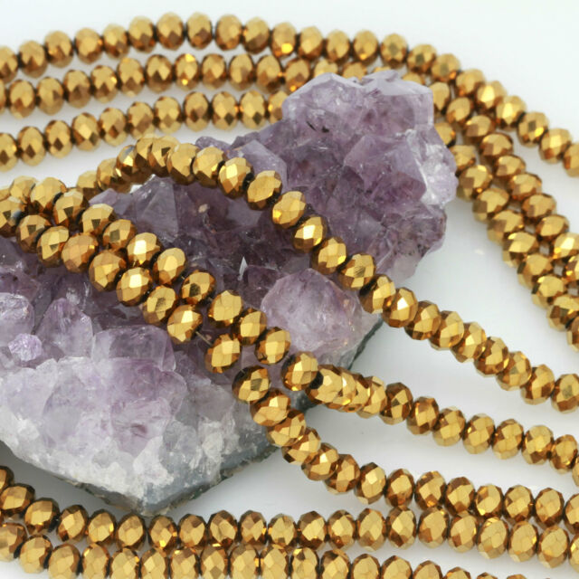 100 pcs 6mm Chinese Crystal Glass Loose Beads Rondelle Faceted Gold Metallic