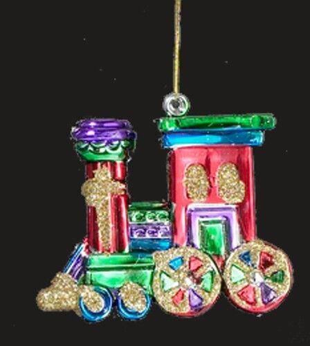 ADLER  MULTI COLOR TOY TRAIN w// GOLD GLITTER ACCENTS CHRISTMAS ORNAMENT KURT S