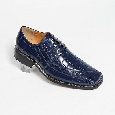 Oxfords Faux Leather Embossed Men's Dress Shoes #5733 Navy Olive Lilac 8.5-16
