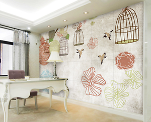 3D Birdcage Painted Wall Paper Wall Print Decal Wall AJ WALLPAPER CA