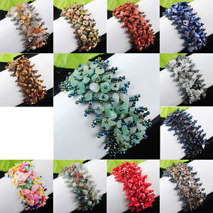 Wide-Natural-Gemstone-Nugget-Beaded-Handmade-Weave-Bracelet-Adjustable-SBK122