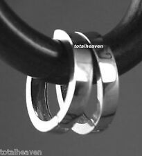 Solid 14K White Gold Endless Square Edges Huggies Hoop Earrings 10mm/2mm ITALIAN