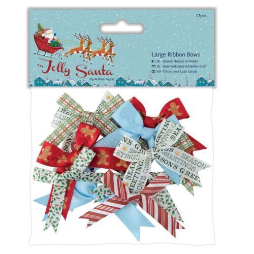 Grands arcs ruban do-crafts 12pcs JOLLY SANTA pour cartes et de l/'artisanat