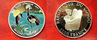 Royal Crane Relieving Rheumatism Africa Capable 1997 Congo Large Silver Proof Color 1000 Fr