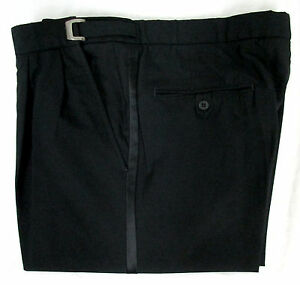 Tommy-Hilfiger-Black-100-Wool-Pleated-Front-Tuxedo-Pants-Wedding-Prom-Mason