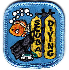 """""""SCUBA DIVING"""" IRON ON EMBROIDERED PATCH - DIVER - SWIMMING - WATER SPORT"""