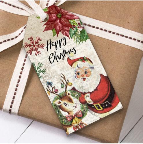 Rustique Vintage Deer /& Santa Cadeau De Noël Étiquettes actuellement faveur étiquettes