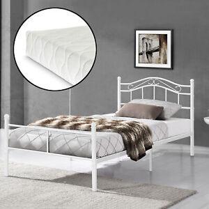En Casa Metallbett 120x200 Weiss Mit Matratze Bettgestell Bett Jugendbett Metall Ebay