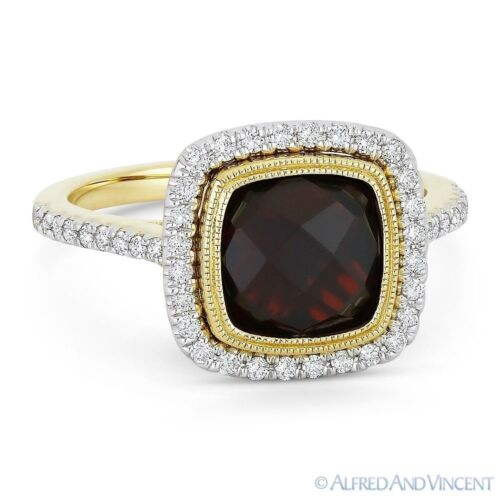 3.89ct Garnet Gem & Diamond Pave Halo Gold RightHand Ring in 14k Yellow & White
