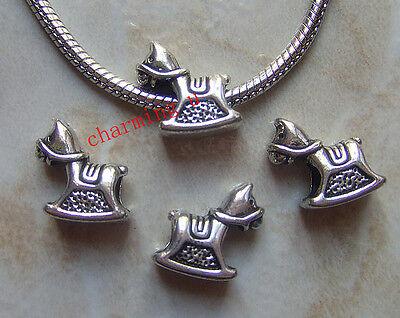 5pz  distanziali spacer beads cavallo a dondolo  tibetano 16x15mm bijoux
