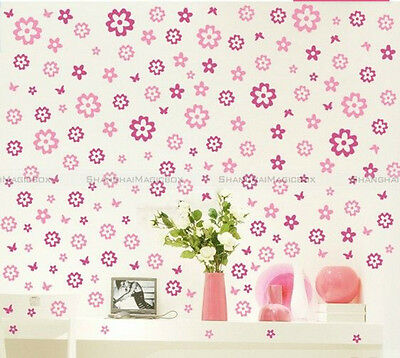 Removable Flowers Butterflies Sticker Art DIY Home Wall Mural Decor Art WALLS152