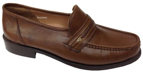 Mens Italian Leather SlipOn Moccasin Loafer Casual Smart Shoes Wide Fitting Size